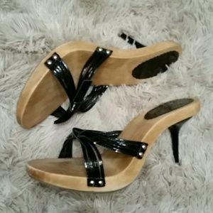 Nine West Wooden Heels Black Patent