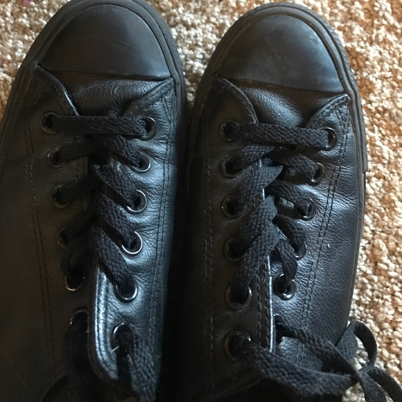 Converse Shoes - All black leather converse size 7