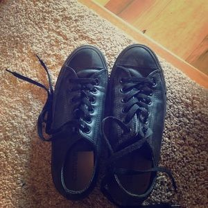 All black leather converse size 7