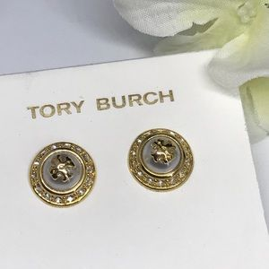 Tory Burch pearl Natalie gold post earrings