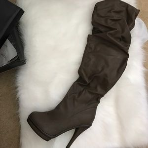 Charlotte Russe Taupe knee high boots size 8