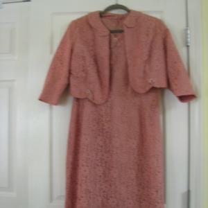 Vintage Mendel Lace dress and jacket Mauve L
