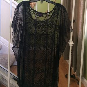 Mesh and lace top
