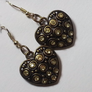 Heart earrings green rhinestones NWOT