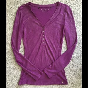 GUESS Purple Sparkle Henley Long Sleeve Top Size S