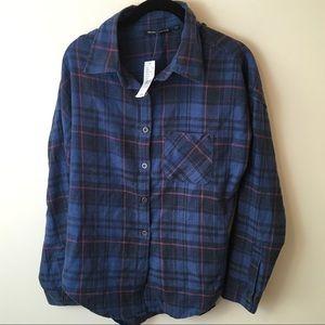 NWT Brandy Melville Blue Plaid Button Down Shirt