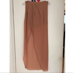 Nude/pink high low Maxi skirt