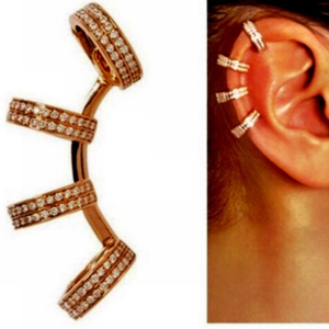 Jewelry - Crystal Ear Cuff - Silver or Gold - No Piercing
