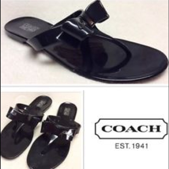0ec3593f412f1e Coach patent leather jelly flip flop bow sandals