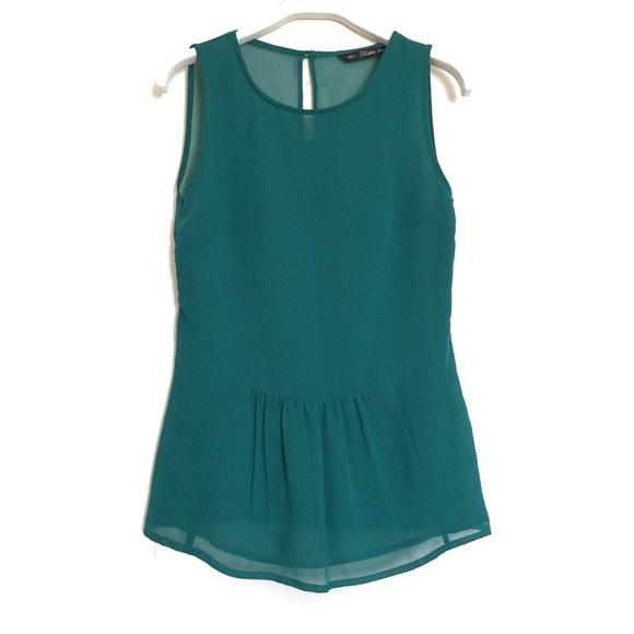 959946a79e Zara TRF teal green sheer peplum blouse tank XS. M 596a9283bf6df53ec202135d