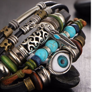 Jewelry - Evil Eye & Leather Vintage Beaded Boho Bracelet