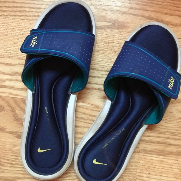 26ea55a7d Women s Nike Memory Foam Slide Sandals Blue Yellow.  M 596a94ecea3f36653003fbe6