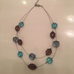 ❤️ Brown and teal beaded multi string necklace