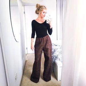 Pants - VINTAGE paisley print wide leg trousers