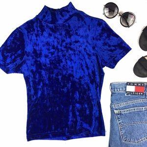 Vintage 90s Grunge Blue Velvet Mock Neck Top