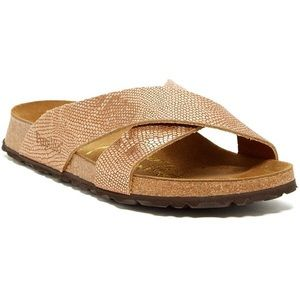 Papillio Birkenstock Daytona copper Python sandal
