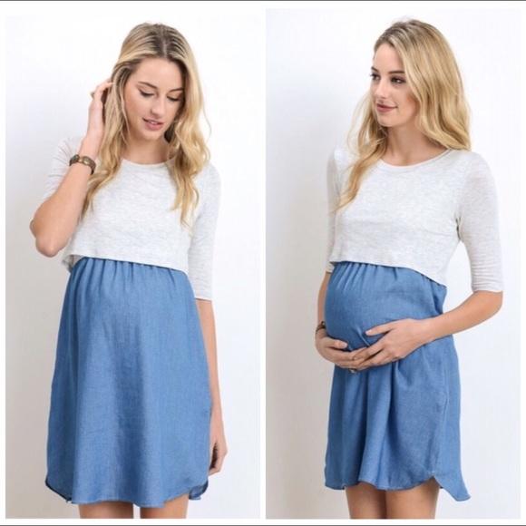 69fe5f08b4b Hello MIZ Dresses   Skirts - Maternity Nursing Dress Hello Miz Chambray  Large