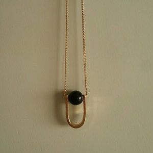 Jewelry - Minimal chic necklace gold tone hoop black