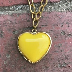 YELLOW HEART Pendant GOLD CHAIN necklace costume
