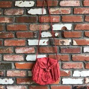 Vintage red leather cross body