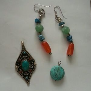 Jewelry - Turquoise nd silver jewellery lot earrings pendant