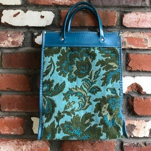 Vintage blue and green carpet bag style tote