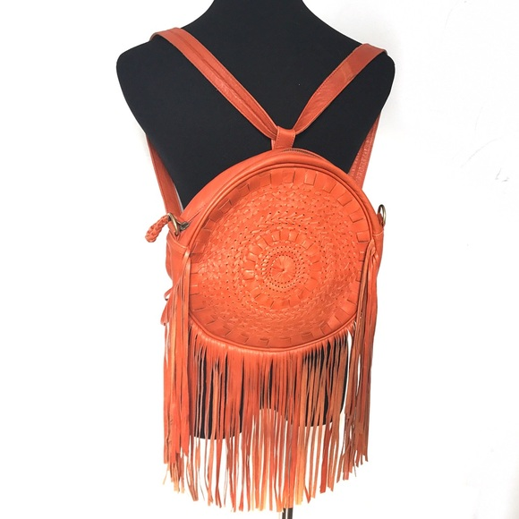 Vintage Handbags - 100% Leather Fringe Back Pack