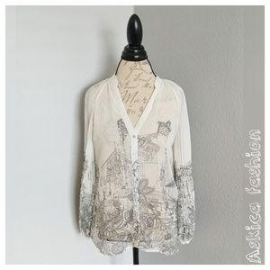 Zara basic sheer white blouse