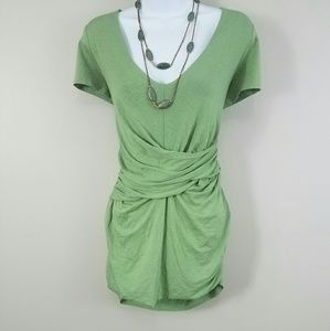 Bordeaux Green Ruched Wrap Short Sleeve Top