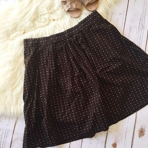 J. Crew Brown and cream polka dot a-line skirt