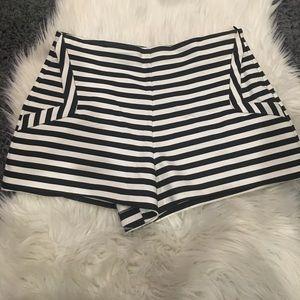 Black & White Striped Zara shorts in Medium