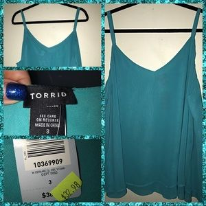 NWT Torrid Light Teal Double Layer Chiffon Cami