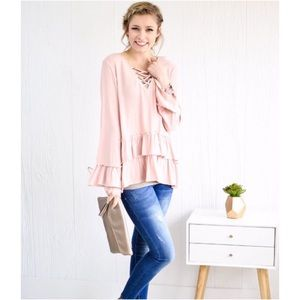 Tops - Blush Lace Up Double Ruffle Top