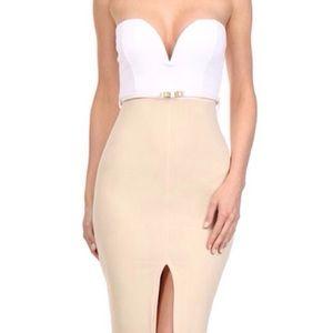 Strapless bodycon dress white sweetheart tan slit