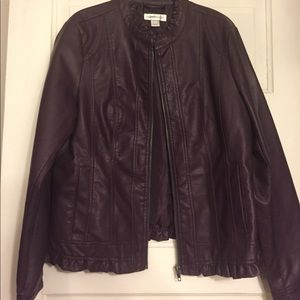 NWOT Plum faux leather ruffle jacket, Super cute!