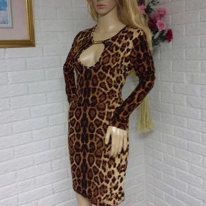 Dresses & Skirts - Leopard Long Sleeve Bodycon Midi Dress (S) NWOT