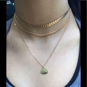 Triple chain Rose Gold Heart Arrow Choker necklace
