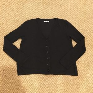Madewell Knit Button Up Top Black Small