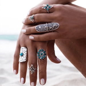 Jewelry - 9 Vintage Turkish Turquoise Silver Boho Midi Rings