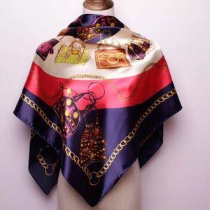 Accessories - Satin Hand Bag Print Neck Scarf & Head Wrap