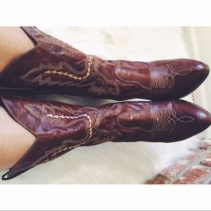 Vegan Leather Cowboy Calf Height Heel Boots 9