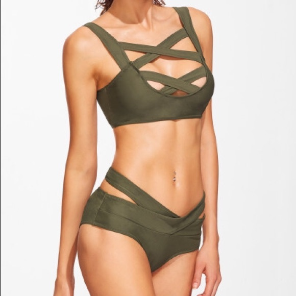 search for genuine complete in specifications autumn shoes NWT CupShe Cross Me Olive Green Bikini Set NWT