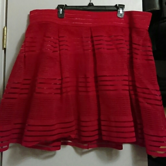 49ddfcceef Torrid Skirts | New With Tags Red Mesh And Strips Pleated Skirt ...