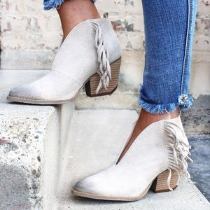 Distressed Cream Fringe V Cut Ankle Bootie