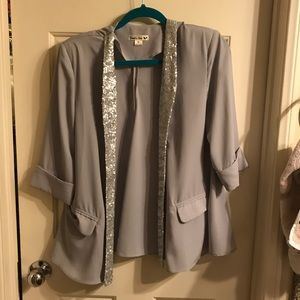 Jackets & Blazers - Grey sequin open back blazer