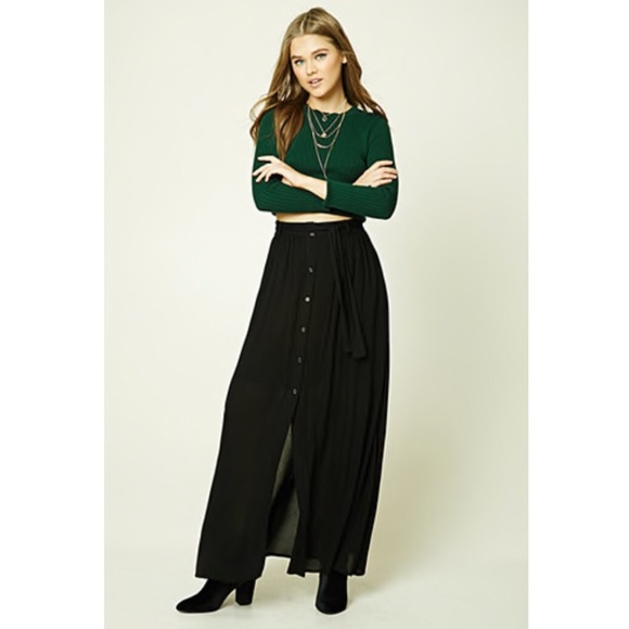 88f0eea2be6 Forever 21 Dresses   Skirts - Forever21 black button-front maxi skirt
