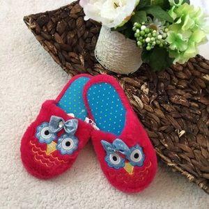 Other - Owl Face Slip On Slippers Kids Girl Medium 13-1