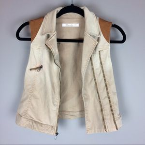 Frankie B. crop khaki vest