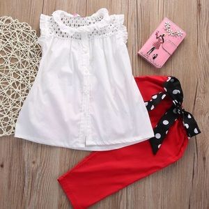 Other - OUTFIT LITTLE GIRLS BOW RED WHITE 5T-6 Polka dot