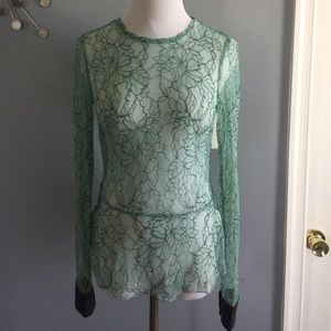 Zara trafulac lace Floral top with leather cuffs
